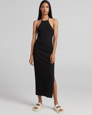 Shop MWB Side Slit Bodycon Maxi Dress-Front
