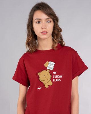 Shop My Sunday Plans-bear Boyfriend T-Shirt-Front