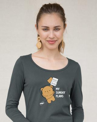 Shop My Sunday Plans-bear Scoop Neck Full Sleeve T-Shirt-Front
