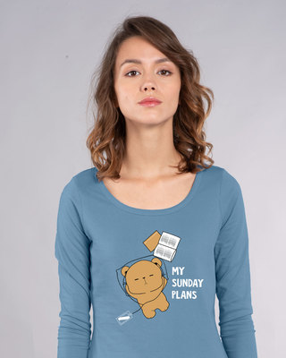 Shop My Sunday Plans-bear Scoop Neck Full Sleeve T-Shirt-Front