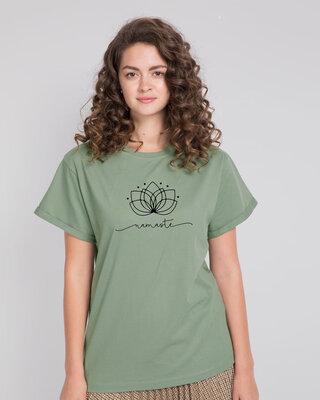 Shop Namaste Line Boyfriend T-Shirt Laurel Green-Front