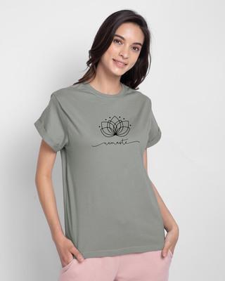 Shop Namaste Line Boyfriend T-Shirt Meteor Grey-Front
