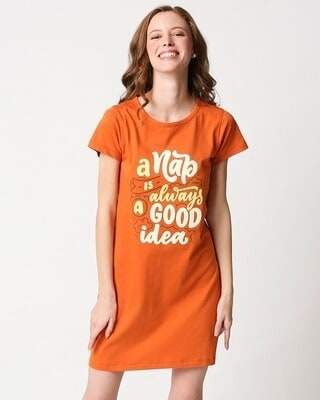 Shop Nap is good Printed Night T-Shirt dress-Front
