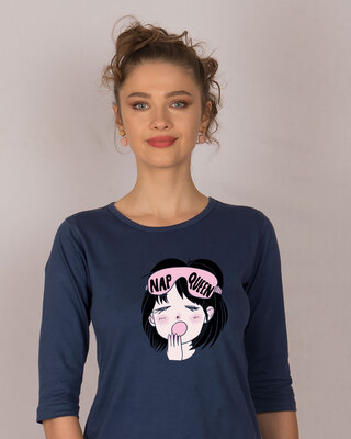 Shop Nap Queen Round Neck 3/4th Sleeve T-Shirt-Front