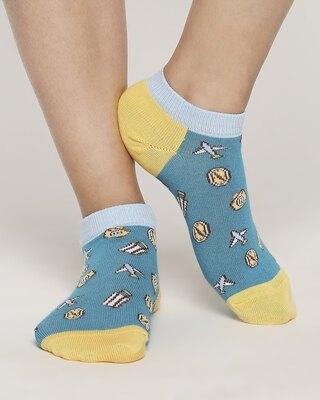 Shop Nautical Navy No Show Socks-Front