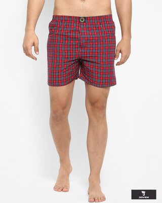Shop Joven | Navy and White Checked Boxers-Front
