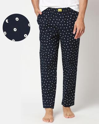 Shop Navy Blue AOP Geometric Print Pyjama-Front