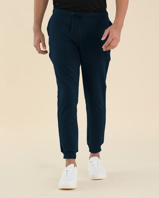 Shop Navy Blue Basic Zipper Fleece Joggers-Front