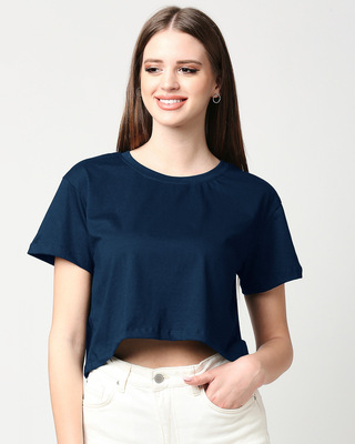 Shop Navy Blue Boxy Crop Top-Front