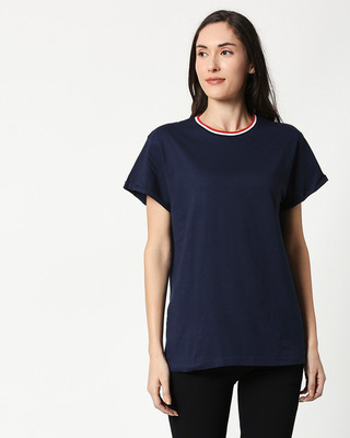 Shop Dark Navy Boyfriend Varsity Rib T-shirt-Front