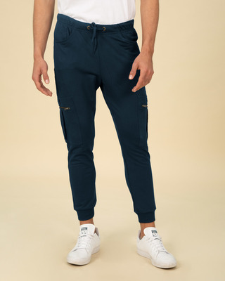Shop Navy Blue Cargo Zipper Fleece Joggers-Front
