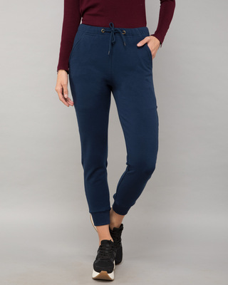 Shop Navy Blue Casual Jogger Pants-Front