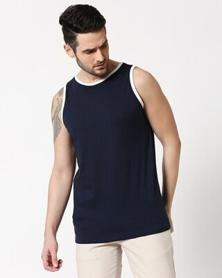 Shop Navy Blue Contrast Binding Round Neck Vest-Front
