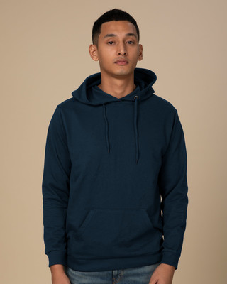 Shop Navy Blue Fleece Hoodies-Front