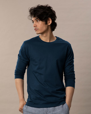 Shop Navy Blue Full Sleeve T-Shirt-Front