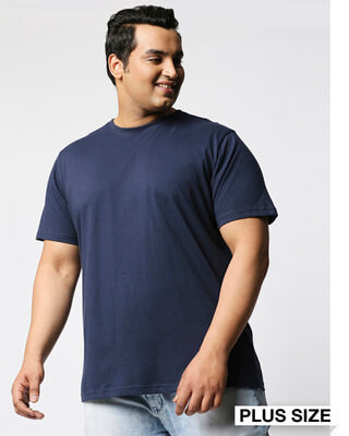 Shop Navy Blue Half Sleeve Plus Size T-Shirt-Front