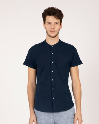 Shop Navy Blue Mandarin Collar Pique Shirt-Front