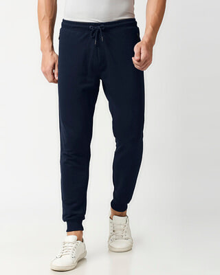 Shop Navy Blue Zipper Jogger-Front