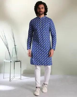 Shop Navy Blue Men's Indo Fusion Printed Mid Kurta-Front