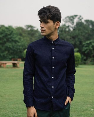 Shop Navy Blue Neps Slim Fit Full Sleeve Shirt-Front