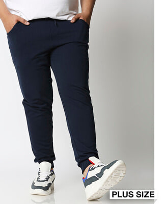 Shop Navy Blue Plus Size Casual Jogger Pants-Front