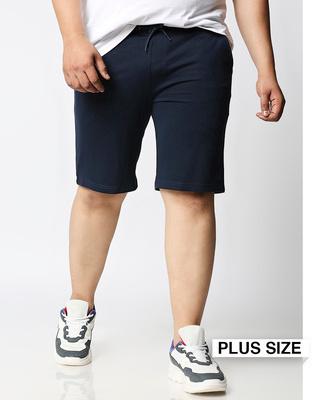 Shop Navy Blue Plus Size Casual Shorts-Front