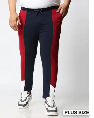 Shop Navy Blue Plus Size Color Block Jogger Pants-Front