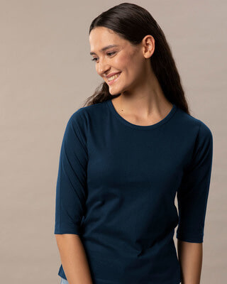 Shop Navy Blue Round Neck 3/4th Sleeve T-Shirt-Front