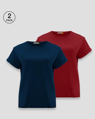 Shop Navy Blue-Velvet Cake Boyfriend T-Shirt-Pack of 2 Combo-Front