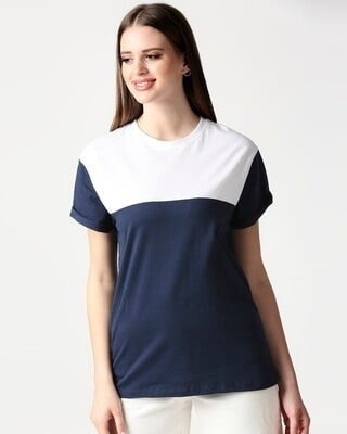 Shop Navy Blue- White Color Block Boyfriend T-shirt-Front