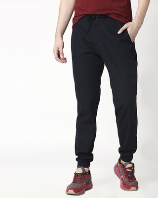 Shop Navy Blue Cotton Joggers Pants-Front