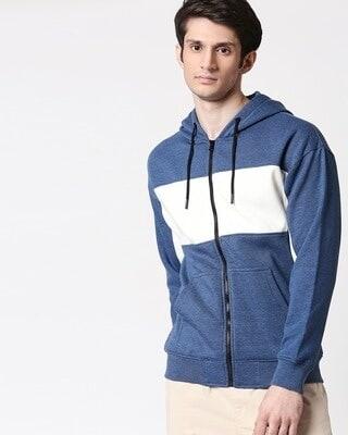 Shop Navy Melange Chest Panel Zipper Hoodie-Front