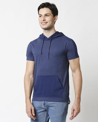 Shop Navy Melange Contrast Pocket Hoodie T-shirt-Front