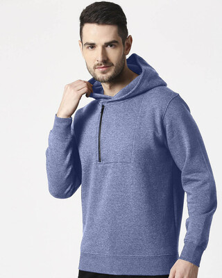 Shop Navy Melange Stylised Zip Panel Hoodie Sweatshirt-Front