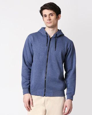 Shop Navy Melange Zipper Hoodie-Front