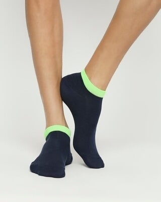 Shop Navy Neon No Show Socks-Front