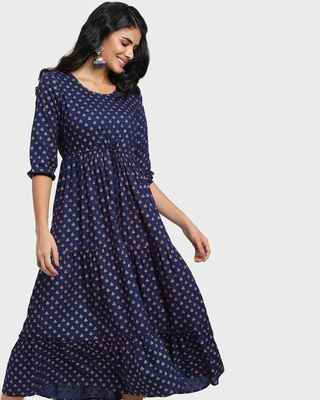 Shop Women's Printed Blue Flared Dress-Front