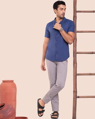 Shop Men's Solid Resort Collar Half Sleeves Shirt-Front