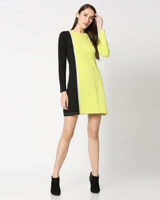 Shop Arcade Green Color Block Dress-Front