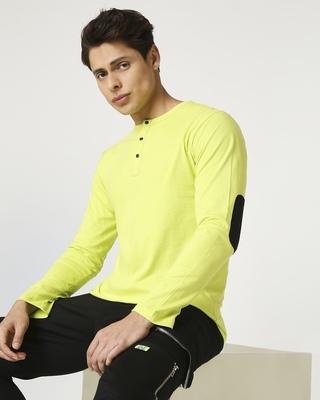 Shop Arcade Green Henley Full Sleeve T-Shirt-Front