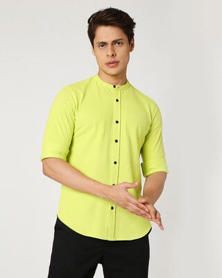 Shop Arcade Green Mandarin Collor Pique Shirt-Front