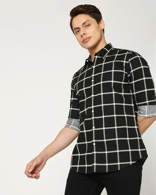 Shop Arcade Green Checks Casual Shirt-Front