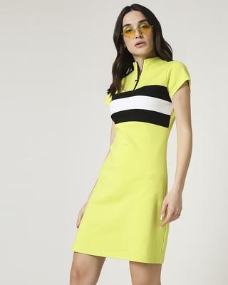 Shop Arcade Green High Neck Zipper Dress-Front