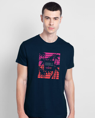 Shop Neon Chill Vibes Half Sleeve T-Shirt Navy Blue-Front