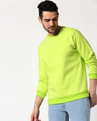 Shop Neon Green Fleece Sweater-Front