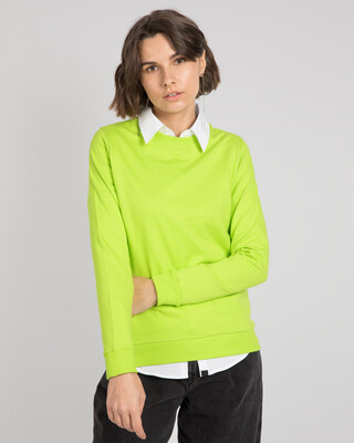 Shop Neon Green Fleece Sweater-Front