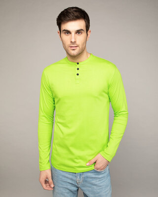 Shop Neon Green Full Sleeve Henley T-Shirt-Front