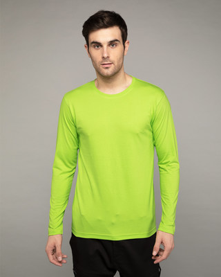 Shop Neon Green Full Sleeve T-Shirt-Front
