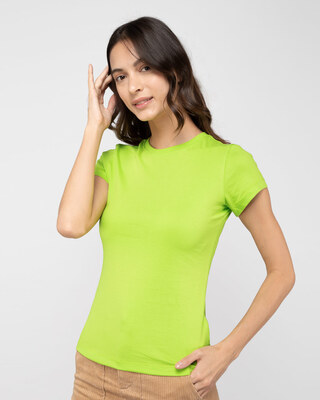 Shop Neon Green Half Sleeve T-shirt-Front