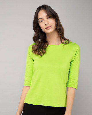 Shop Neon Green Round Neck 3/4th Sleeve T-Shirt-Front